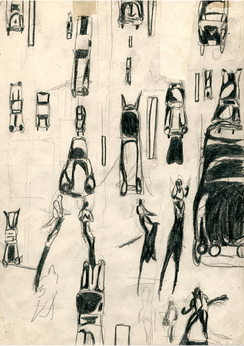 "Anja Fell, ""Sugar Ray Robinson"", 1995, pencil on paper, 29 x 21 cm"