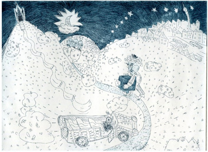"Anja Fell, ""Circus Humberto"", 2016, etching with aquatint, 15,5 x 20 cm"