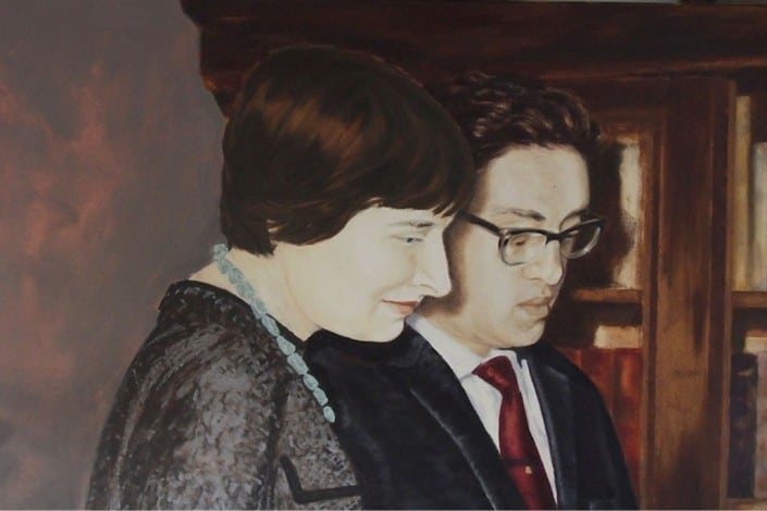 "Anja Fell, ""Marit and Bernhard"", 2012, Oil on canvas, 70 x 110 cm"