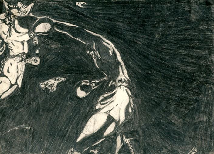 "Anja Fell, ""Sugar Ray Robinson"", 1995, pencil on paper, 21 x 29 cm"