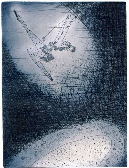 "Anja Fell, ""Circus Humberto"", 1992, etching with aquatint, paper size 29 x 22,5 cm"
