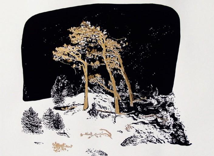 "Anja Fell, ""Weststrand"", 2014, screenprint on paper, 70 x 76 cm"