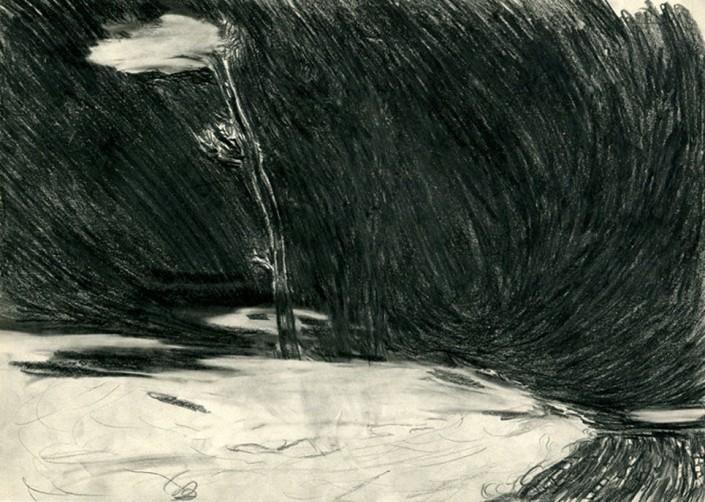 "Anja Fell, ""Sea, Strand, Tree, Cloud "", 2007, pencil on paper, 21 x 29 cm"