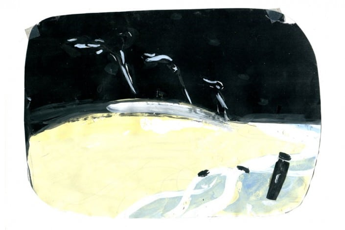 """Anja Fell, """"Strand"""", 2007, pencil and watercolors on paper"""