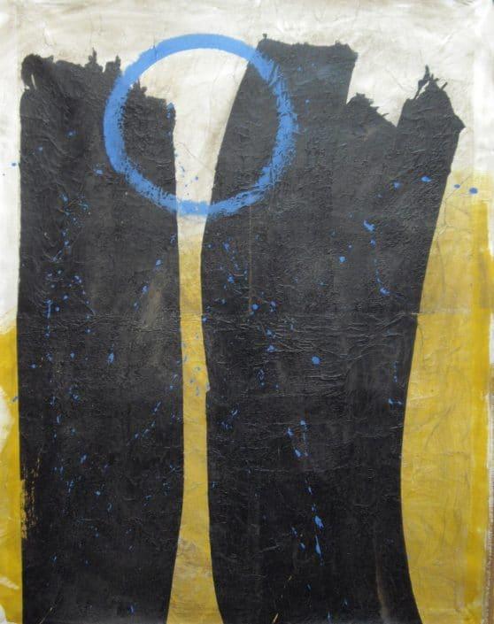 Kaoru Tsusawa - œuvre peinte - technique mixte - maroufflage sur papier canson - exposé à Villa Violet Paris