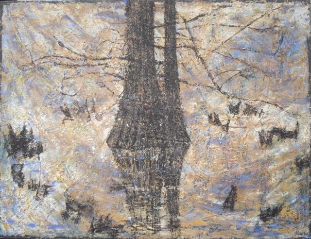Kaoru Tsusawa peinture huile-sur-toile exposée à Villa Violet Paris