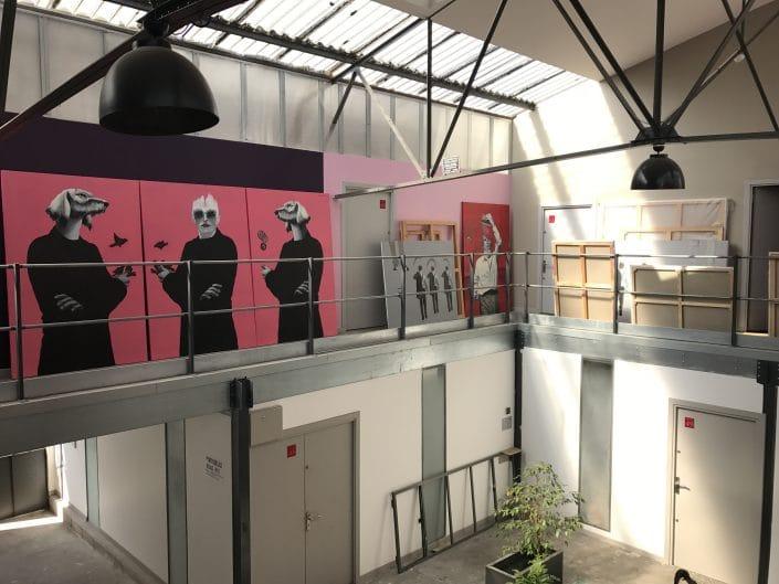 """Vue de l'atelier de Dominique Albertelli. Préparation de l'exposition """"Comme Je Suis"""" à Villa Violet Paris, en septembre 2017"""