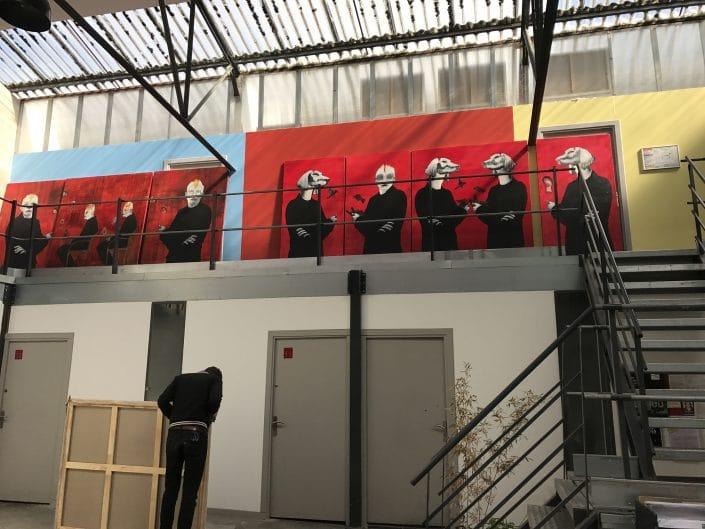 """Vue de l'atelier de Dominique Albertelli. Préparation de l'exposition""""Comme Je Suis"""" à Villa Violet Paris, en septembre 2017"""